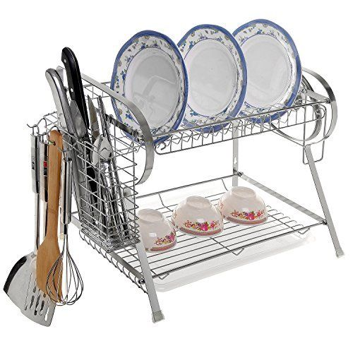 Nex 2 Tier Stainless Steel Dish Rack Nonslip Height Adjustable