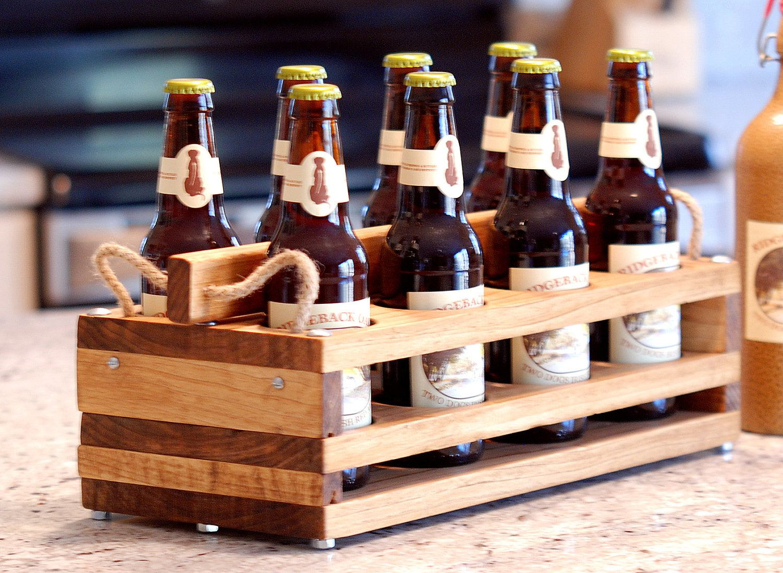 Wood 8bottle Beer Carrier Homebrew Gift By Jupalada On Etsy Beer