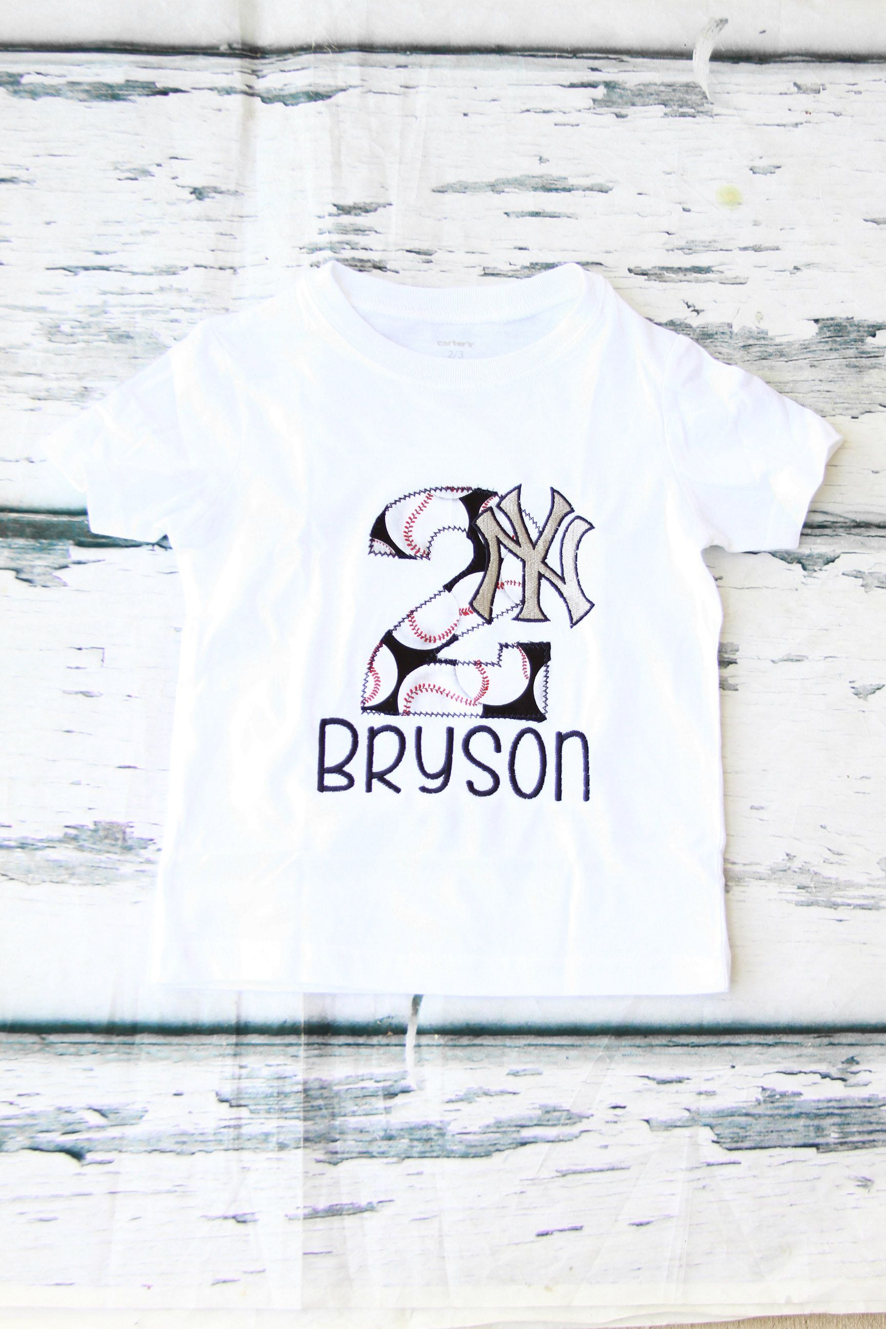Boy 2nd Birthday New York Yankees Themed Shirt Baby Girl Two Year Old T Second BaseBall MLB By LoveAndLollipopsBaby