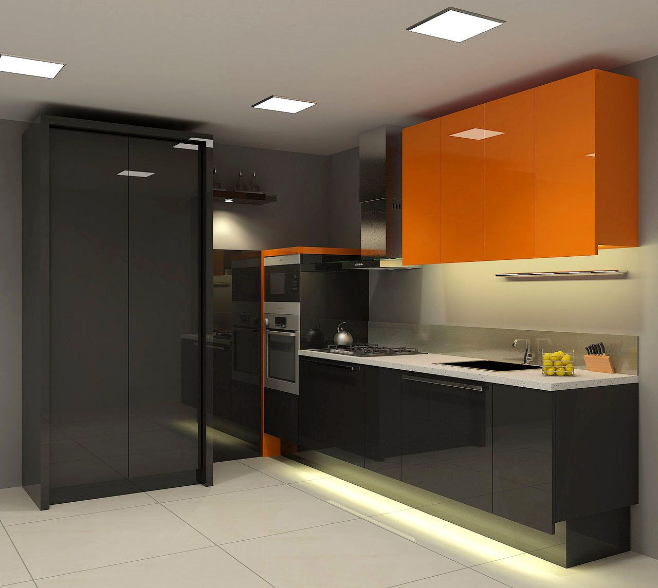 Simply cool kitchen design idea with sleek black kitchen for Cool kitchen wall colors