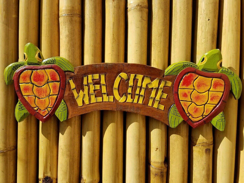 Tiki Bar Welcome sign Wood Carving Handmade Tiki Bar Wood 19.5\
