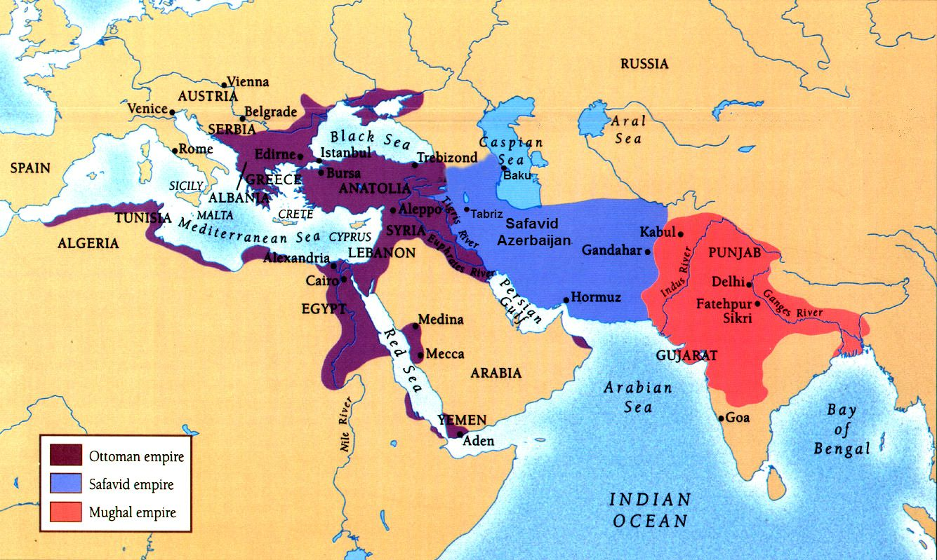 comparison of the three muslim empires Go to the world, 1500-1800 and compare and contrast the geographical scale and scope of the european nation-states with the extent of these islamic empires don't forget to include the europeans' overseas possessions all three islamic empires were more multiethnic and multireligious than the european nation- states.