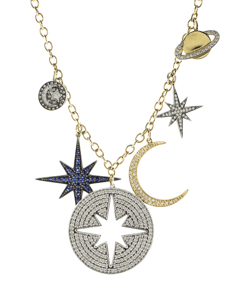 Pave Moon Charm Necklace