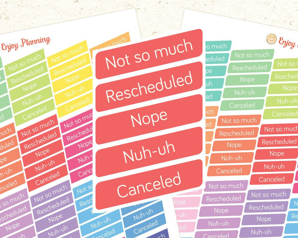 Printable Canceled Stickers Rescheduled stickers Printable stickers Changing Plans Stickers Planner Stickers Erin Condren Planner Stickers by EnjoyPlanning on Etsy