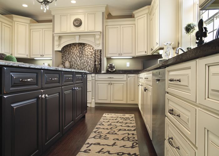 Corner Cabinet Layout And Top Molding...Perimeter Cabinets: Ivory With  Mocha Glaze