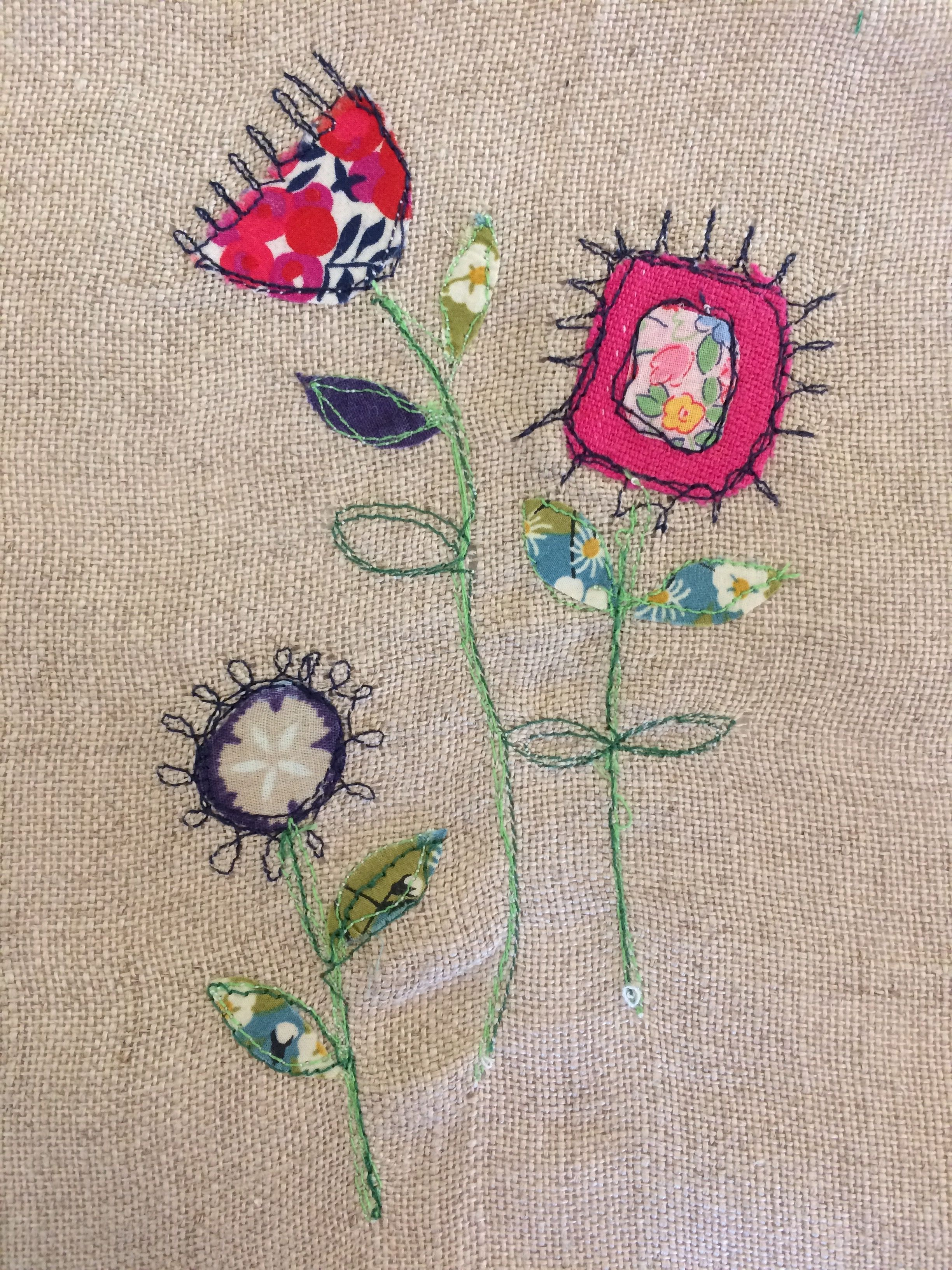 Funky flowers free motion embroidery embroidery designs