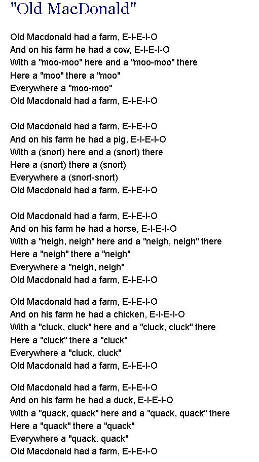 Old McDonald Had A Farm--- http://www.dltk-teach.com/rhymes ...