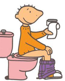 jules op het toilet met afbeeldingen thema