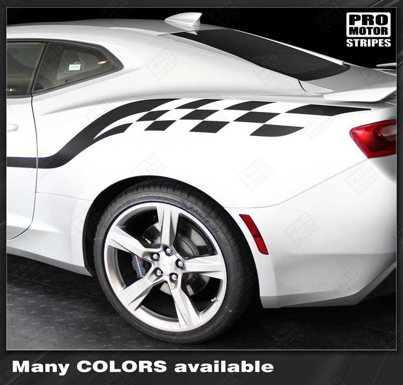 Chevrolet Camaro 2010 2021 Checkered Style Side Stripes Chevrolet Camaro 2010 Chevrolet Camaro Camaro