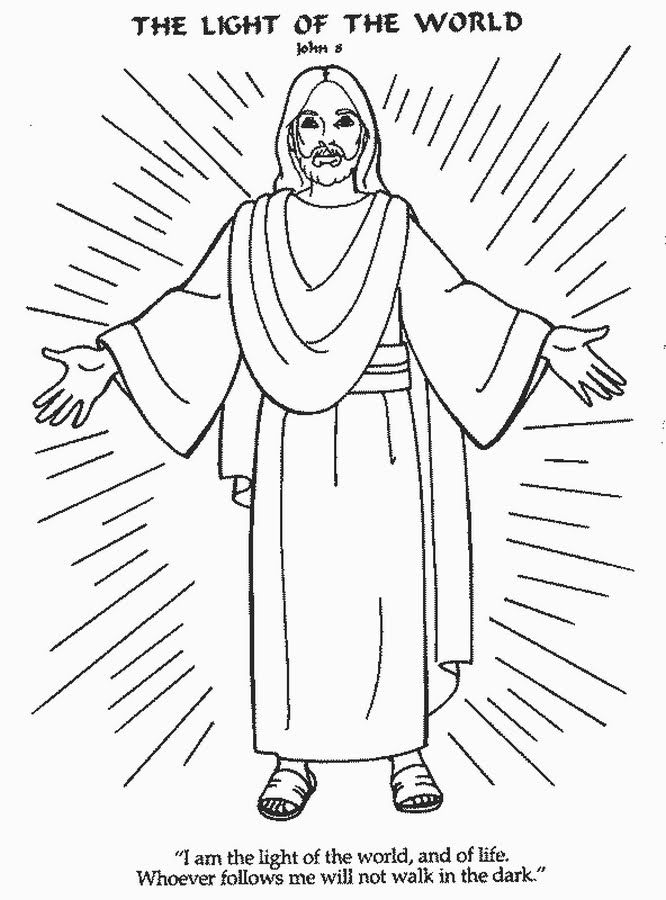 Jesus Is The Light Of The World Coloring Page Jesus Coloring
