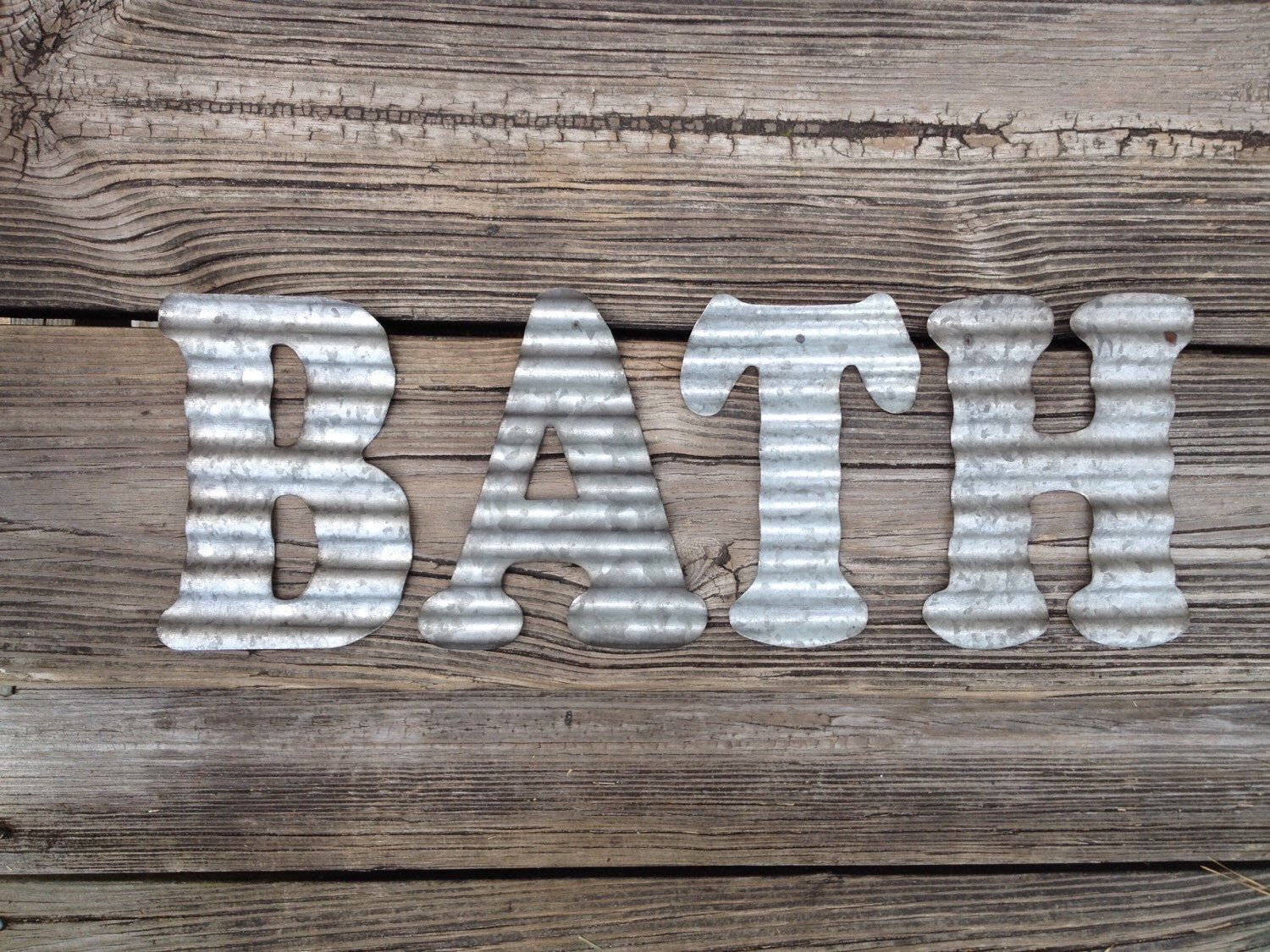 Galvanized Tin Letters Galvanized Metal Letters Bath Industrial Wall Decor Country