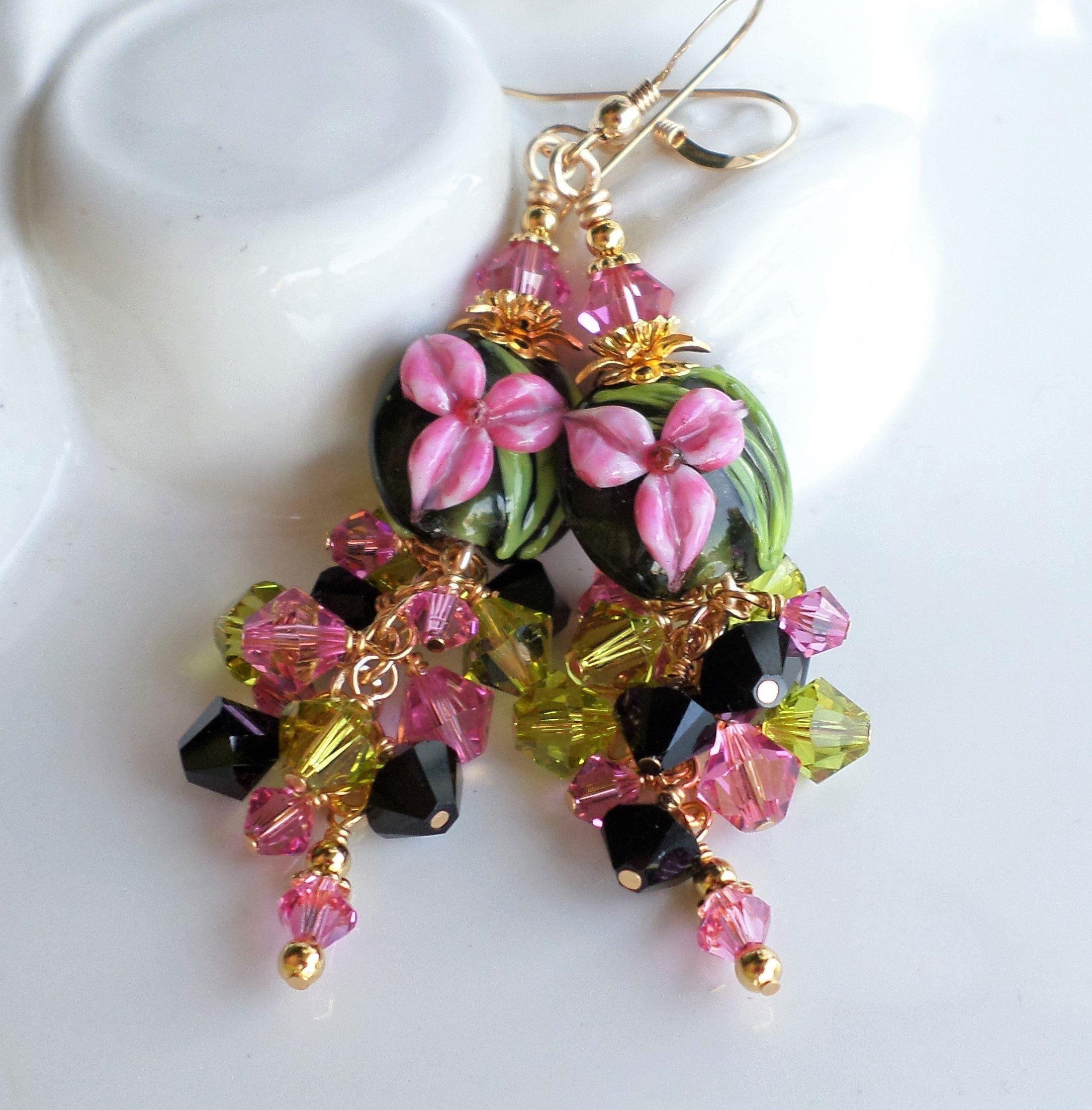 Pink Black Green Floral Lampwork Earrings Swarovski Crystal Etsy Lampwork Earring Long Statement Earrings Lampwork Jewelry