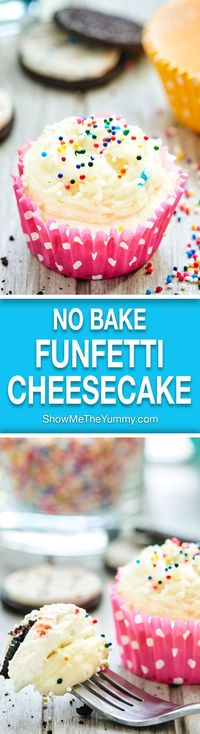 These funfetti cheesecake cupcakes have 3 layers birthday cake oreo