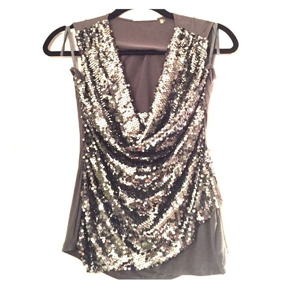 Baby you're a firework! Tahari sequin top! Tahari cowelneck sequin top -- rarely ever worn. Show stopper! Perfect for the 4th! Tahari Tops Camisoles