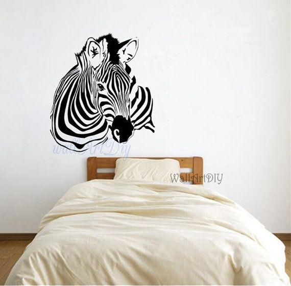 Zebra Wall Decals Zebra Wall Mural Animal Wall Decal Modern Wall Decal  Zebra Wall Stencils Bedroom