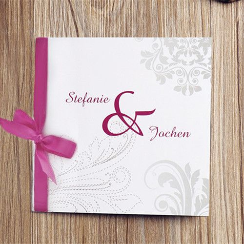 klassische grau muster und rosa schleife hochzeitskarten opl016, Einladung