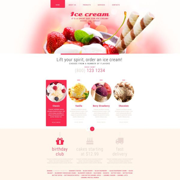 Ice Cream Website Template #52713