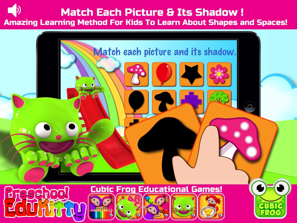Can you match the picture to the shadow? Fine motor skill building for kids! https://itunes.apple.com/us/app/preschool-edukitty-free-amazing/id655192558?mt=8