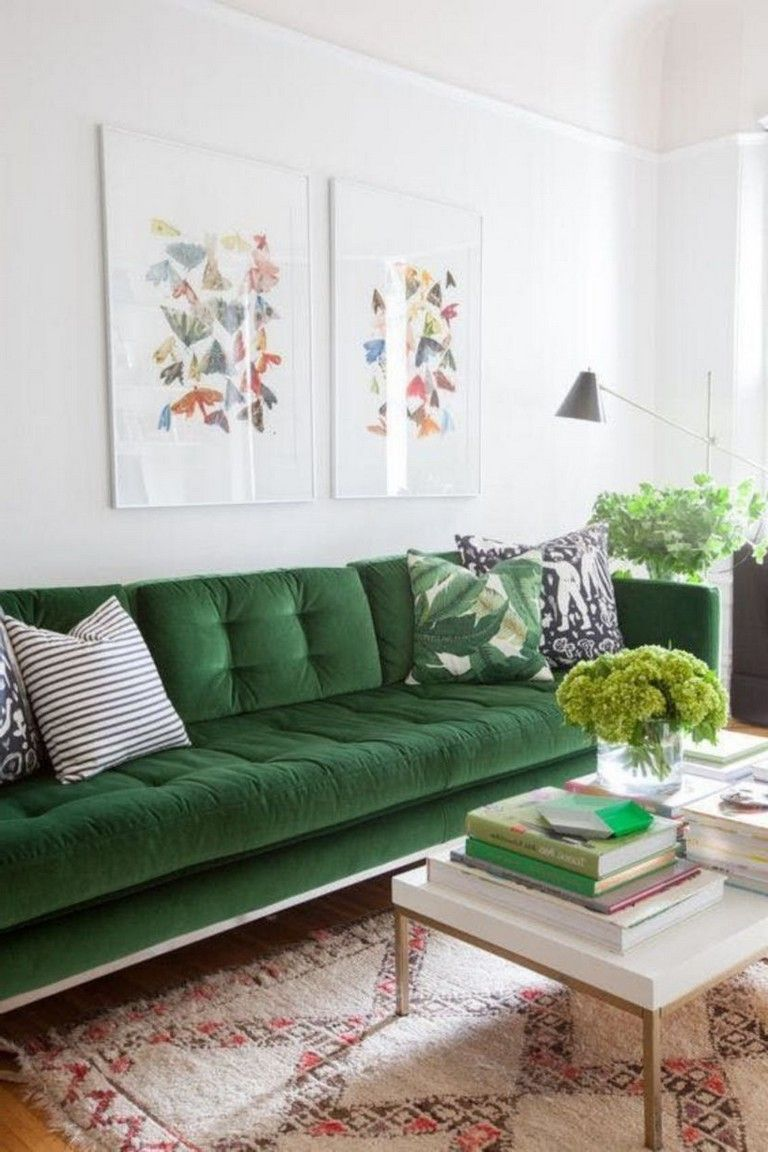 45 Admirable Apartment Living Room Decoration Ideas Livingroom Livingroomdecorat Green Living Room Decor Living Room Decor Apartment Green Couch Living Room