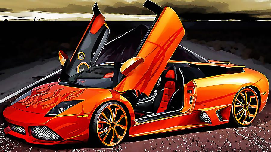 Orange Lamborghini Mixed Media By Marvin Blaine Lamborghini Cars Super Cars Lamborghini