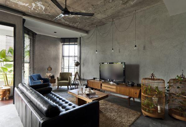 Interior Design Vintage Industrial Singapore Apartment HDB Living Room