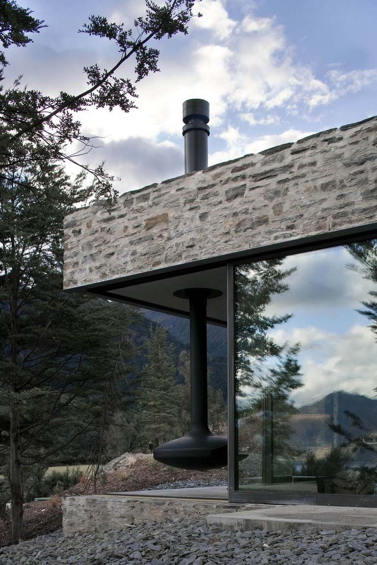 Modern Stone Cottage modern stone and glass mountain retreat in new zealand   mountains