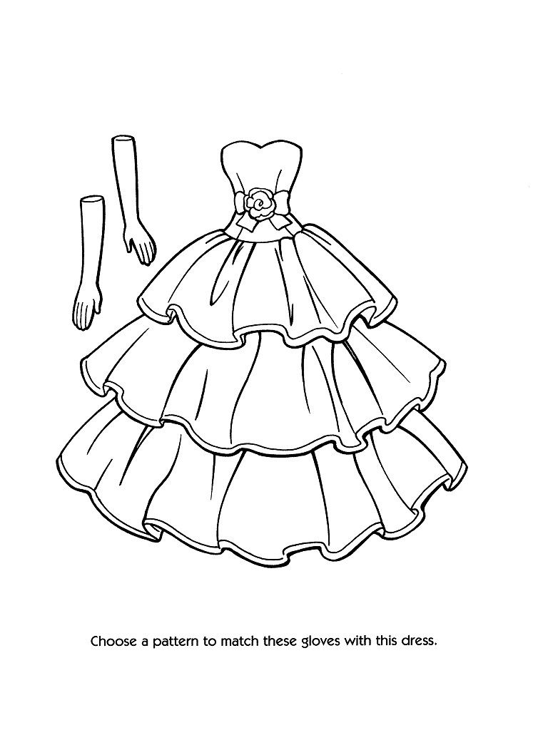 Designer dress template Coloring pages for girls, Barbie