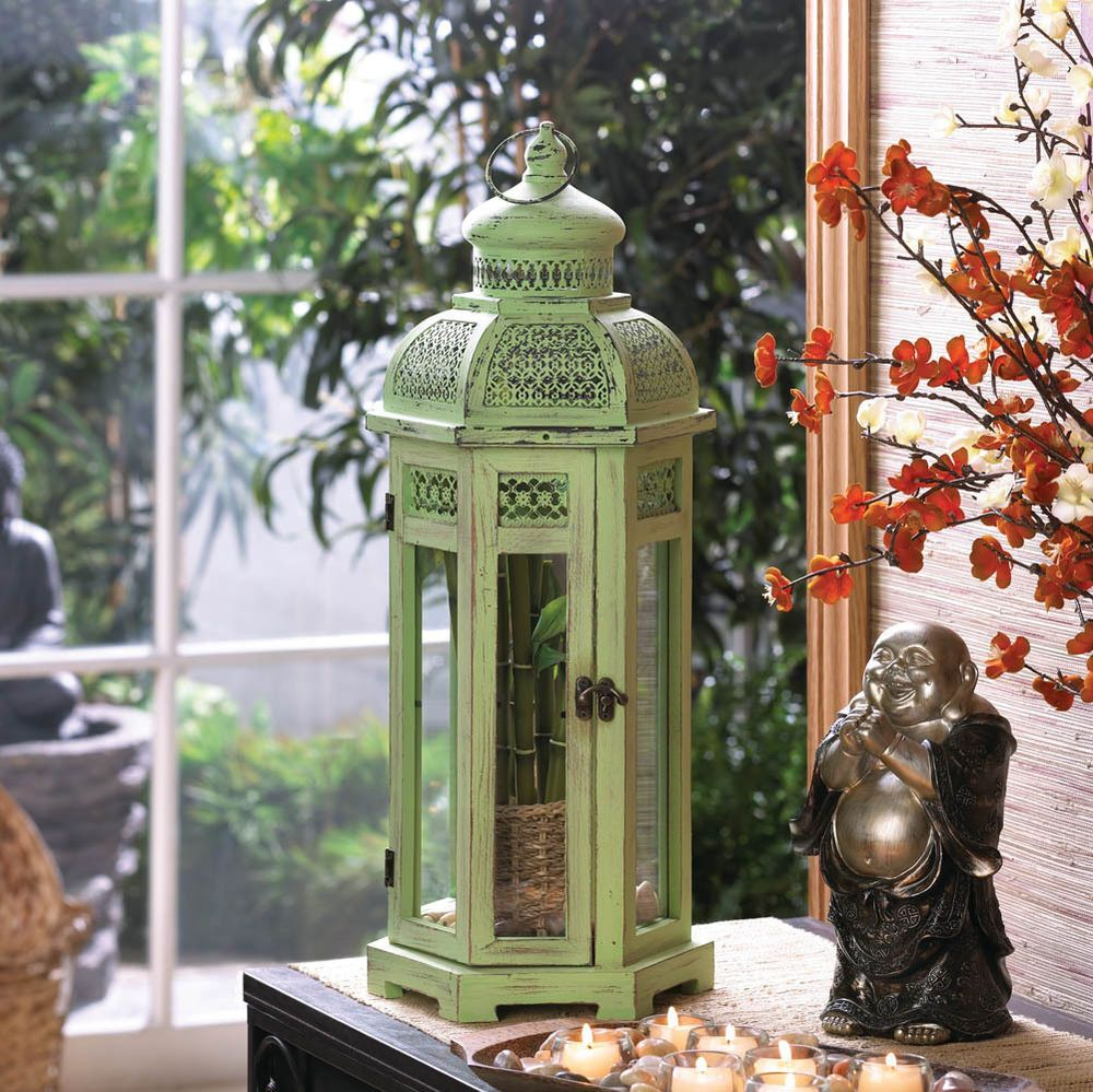 Tabletop Architecture Large Exotic Green Candle Lantern Centerpiece Holder Decor #HomeLocomotion