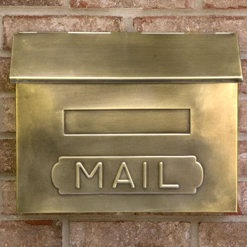 Horizontal Mail Wall Mount Brass Mailbox Signature Hardware Wall Mount Mailbox