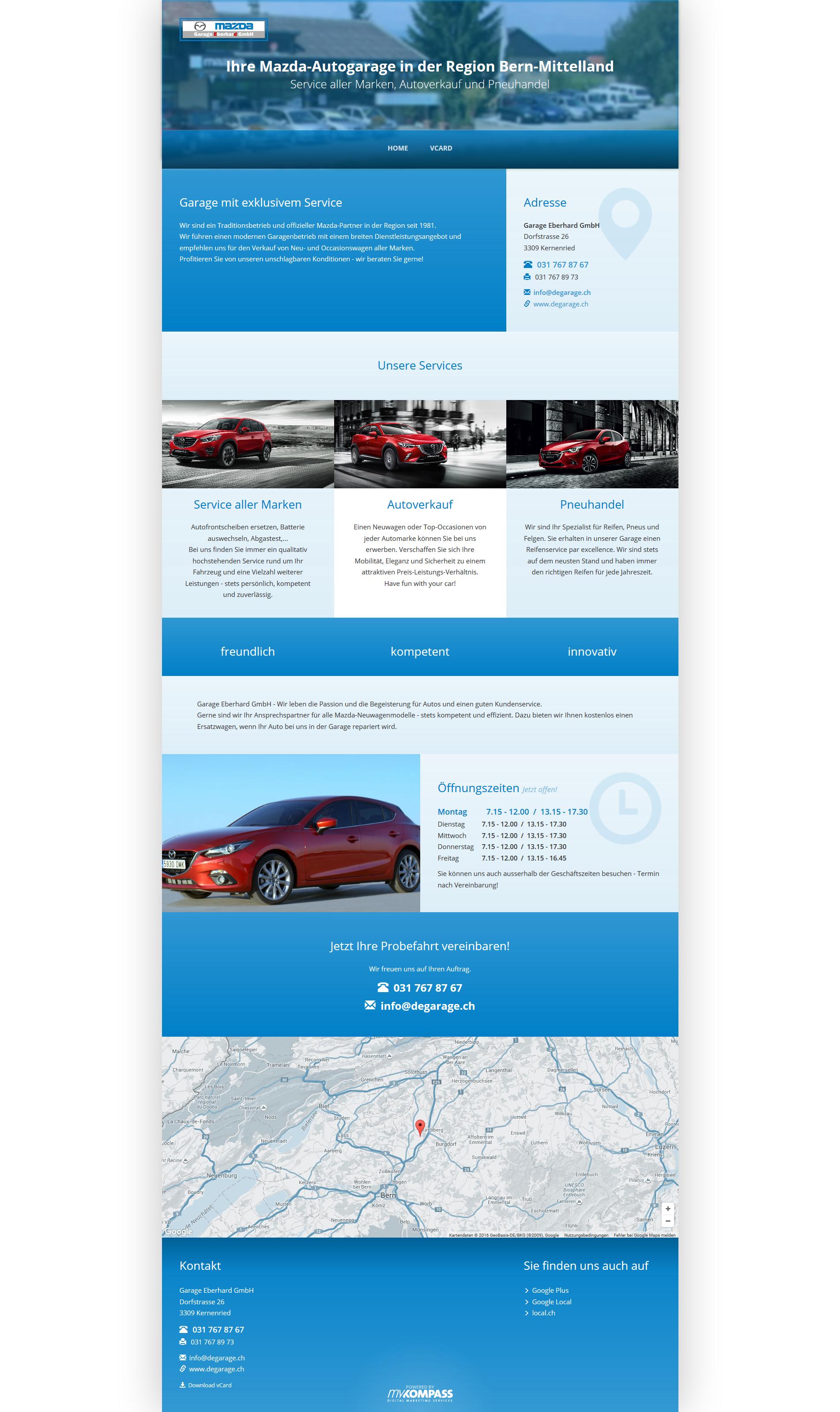 Garage Eberhard GmbH, Kernenried, Bern-MIttelland, Mazda-Autogarege, Service aller Marken, Autoverkauf, Pneuhandel