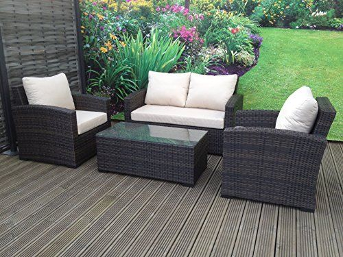 Hgg Rattan Outdoor Garden Patio Furniture Sofa Set 4 Seater Mixed Brown Wicker Weave Patio Furniture Pillows Rattan Furniture Set Modern Garden Furniture