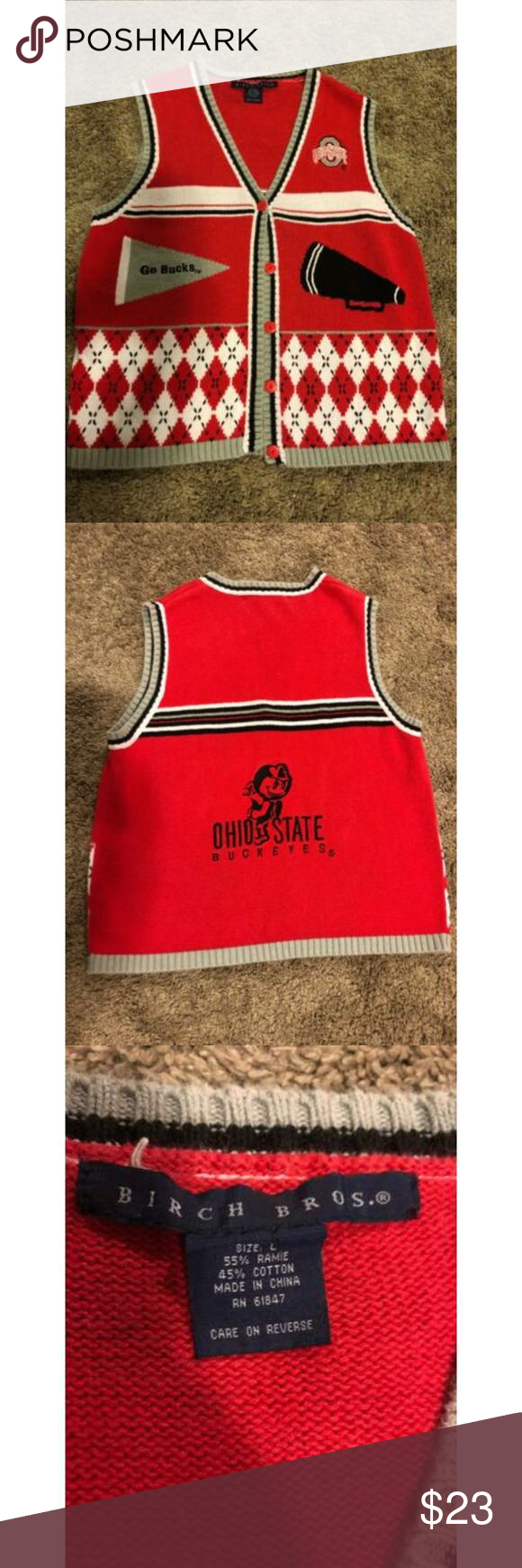 Birch Bros Ohio State Buckeyes Sweater Vest Size L Great used condition! Birch Bros Jackets & Coats Vests #ohiostatebuckeyes