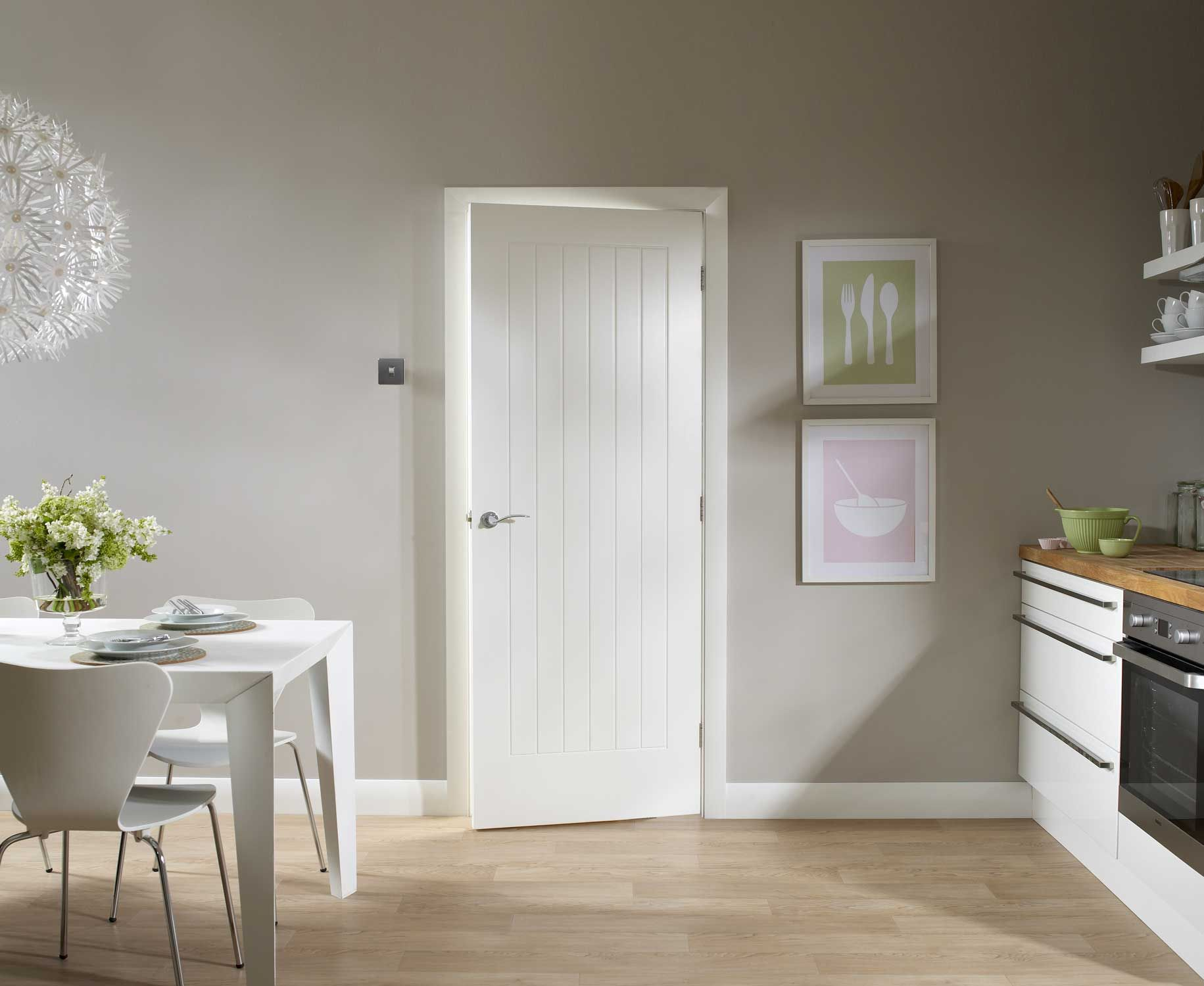 An unfinished internal white primed door with 6 solid vertical panels. Vertical panelled contemporary design perfect for the modern home. & Suffolk White Door Lifestyle | Durys | Pinterest | Inside doors ...