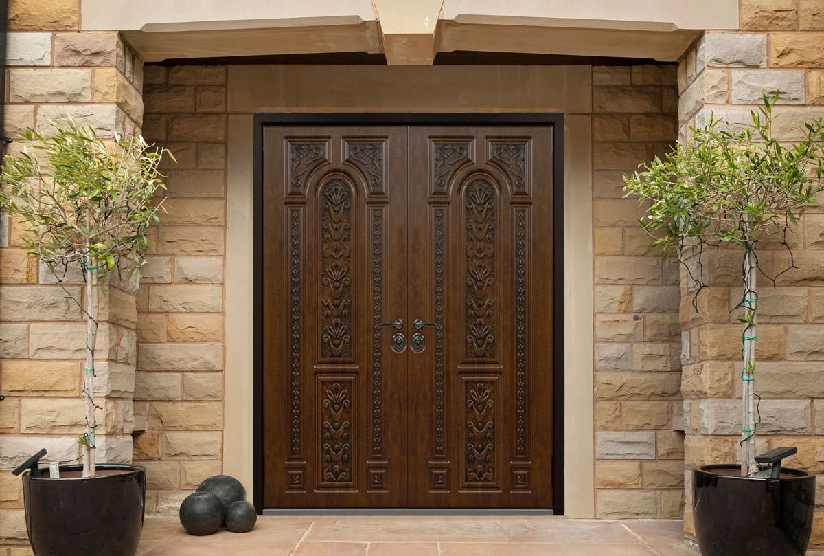 Double Entry Doors Can Give A Home A Grand Appeal Whether They Are Installed At A Modern Traditional With Images Front Door Design Double Entry Doors Double Front Doors