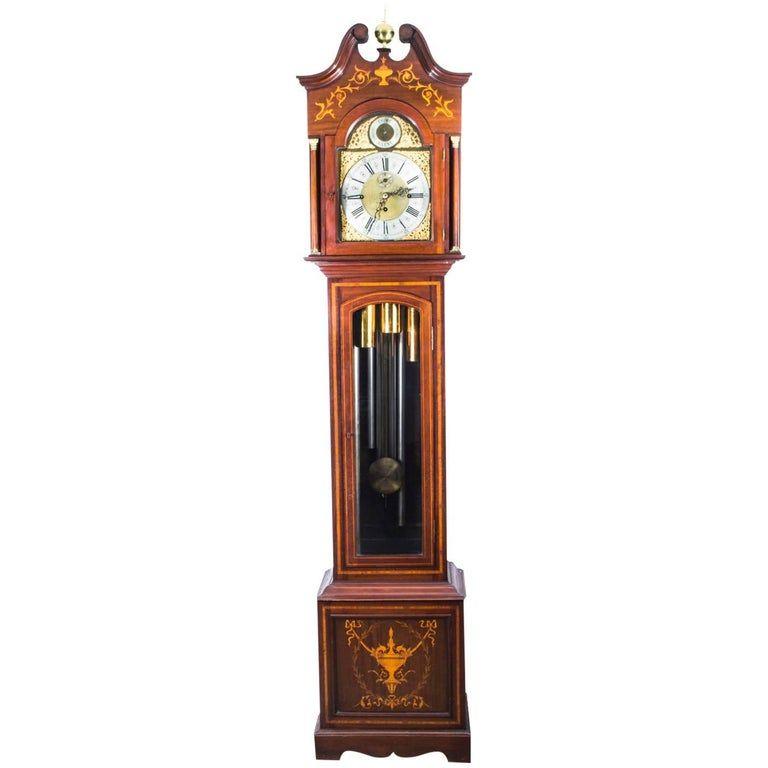 1stdibs Grandfather Clock / Longcase Clock - Antique 5 Tube Musical 19Th Century English Late Victorian Brass, Mahogany