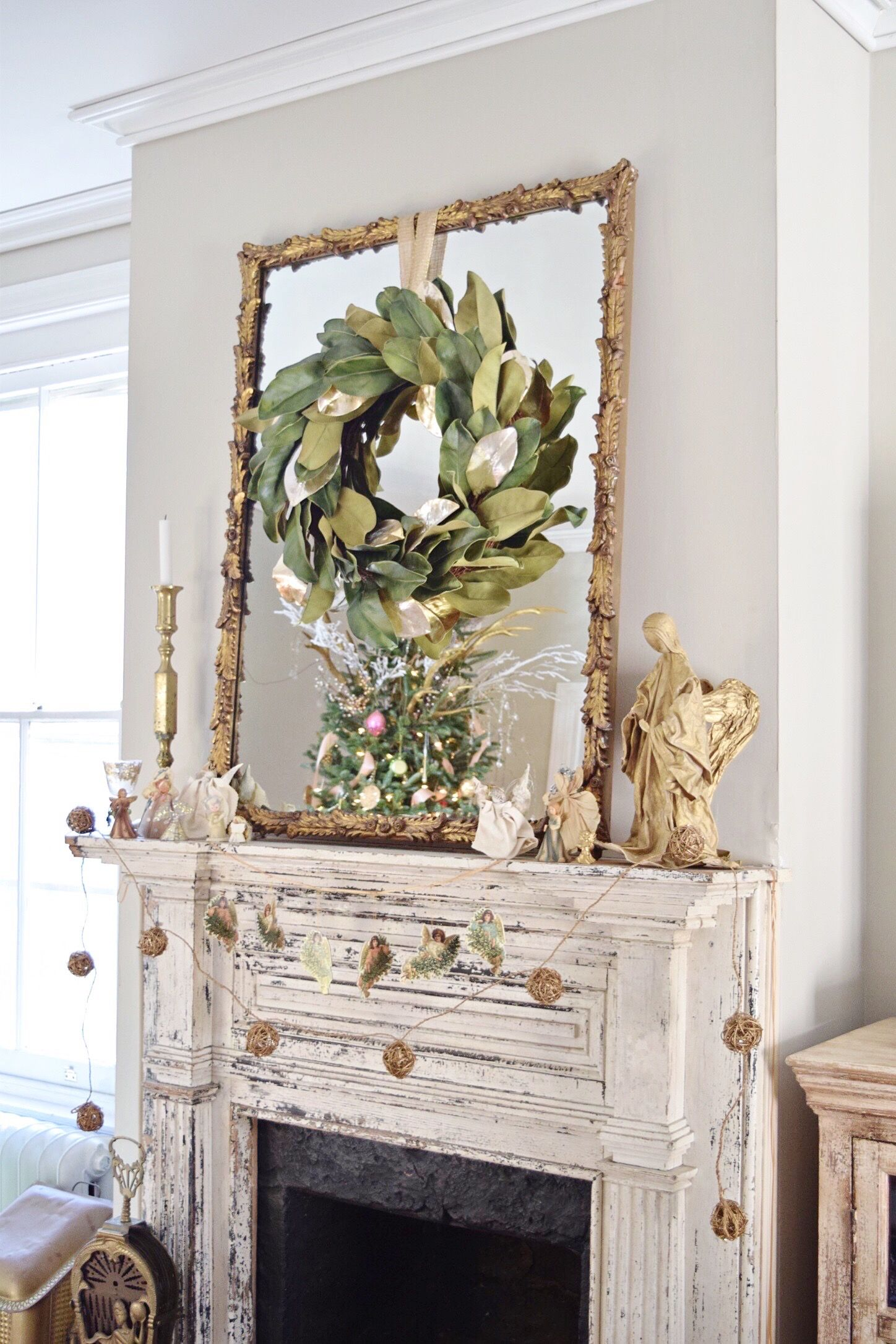 Vintage Gold Angel On Mantel With Magnolia Wreath And Gilt