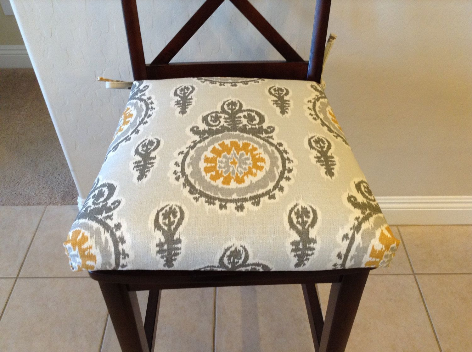 Kitchen Chair Seat Covers Large Reading Modern Ivory Grey Yellow Premier Prints Michelle Nova