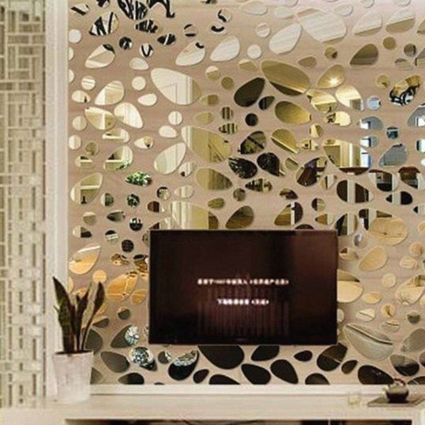 Stylish Diy Combination Type Pebble Shape Mirror Wall Stickers Wall Decor Stickers Mirror Wall Stickers Sticker Decor