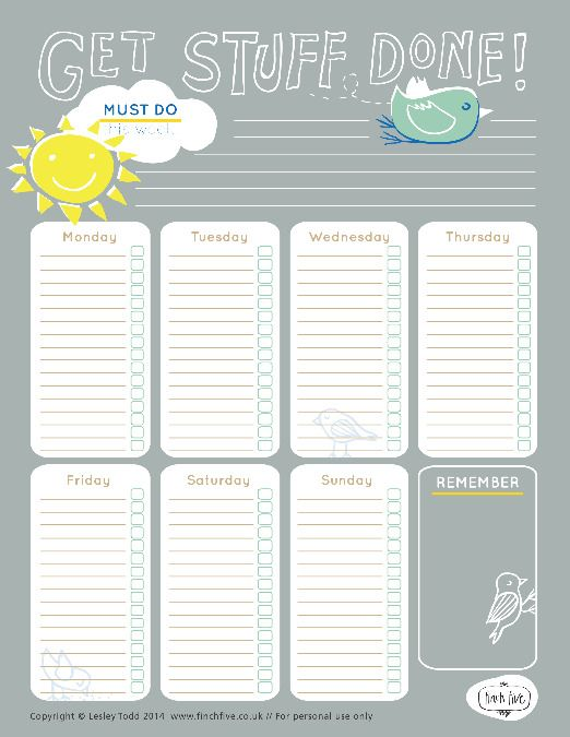 Free Printable Letter size weekly planner - Get more - free printable weekly calendar