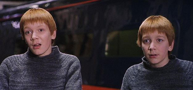 This Is What The Harry Potter Characters Looked Like In The First Movie Vs The Last Weasley Twins Harry Potter Characters Fred And George Weasley