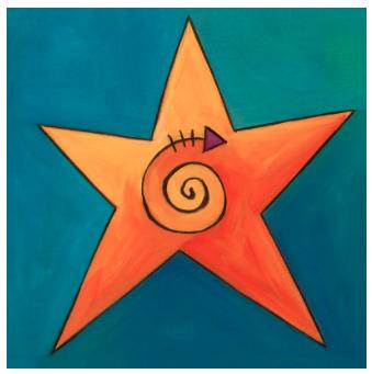 Star Icon Plaque Kids Canvas Painting Art Pole Vibrant Tile