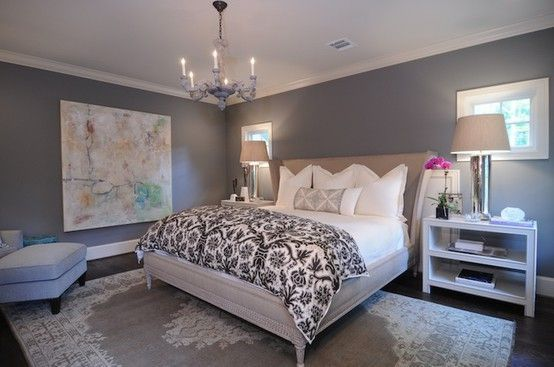 Benjamin Moore Chelsea Gray Best Paint Colour For A Dark Basement Or Family Room Shown In Master Bedroom Grey Bedroom Decor Woman Bedroom Gray Bedroom Walls