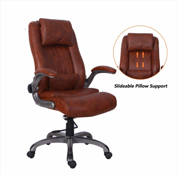 Executive Office Chair 94 99 Shipping Fee Office Chair Brown Leather Office Chair Executive Office Chairs Office chair with flip up arms