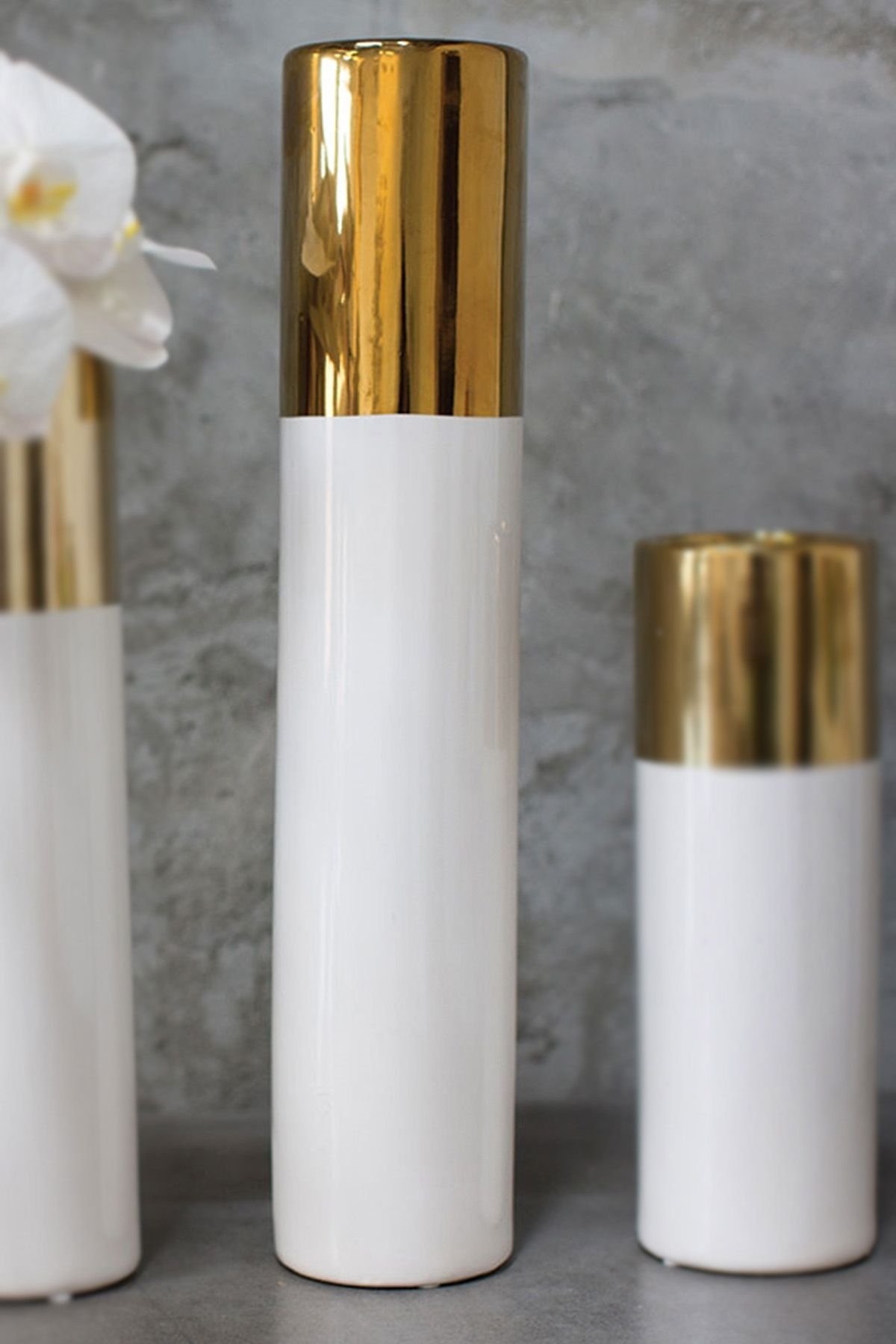 White Gold 20in Klein Vase White And Gold Decor Cylinder Vase