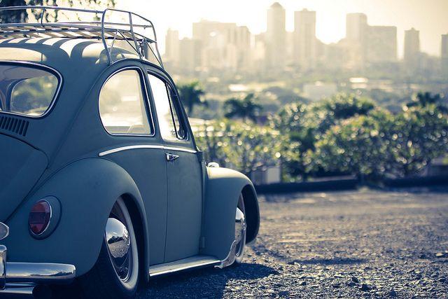 Honolulu Skyline Vintage Vw Beetle Car Vw Bug