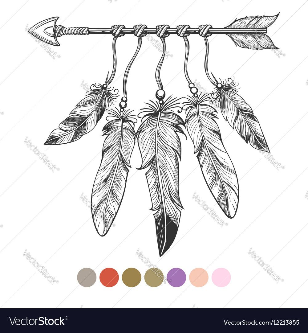 Colorng Tribal Arrow And Feathers Vector Image On Feather Vector Tribal Arrows Feather