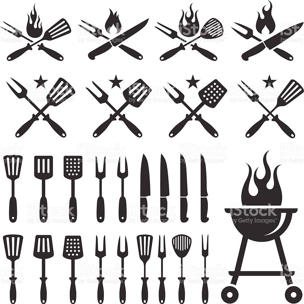 Summer Barbecue black and white set Grill logo, Barbecue