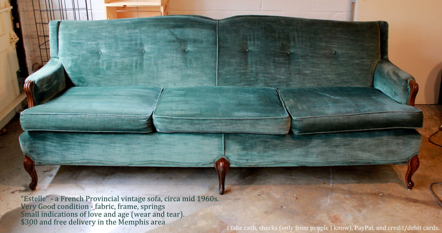 Awesome 1970s Vintage Velvet French Provincial Sofa In Teal / Blue / Green   Very  Good Condition