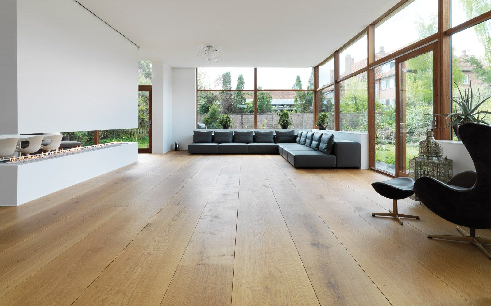 Fresh interiors with wooden floors and nordic design but needs colour and nicer furniture
