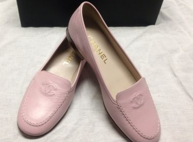 Used CHANEL Flats | Authentic New CHANEL CC Logo Pink Loafers | Designer Consignment Online